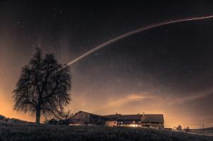 night-universe-stars-dark-tree-old-house-home-beautiful-nature-village-